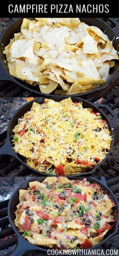 Campfire Pizza Nachos Recipe Best Camping Meals, Best Places To Camp, Paella, Ethnic Recipes, Food, Eten, Hoods, Meals
