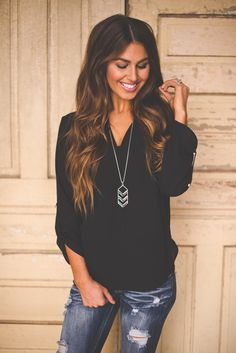 Dottie Couture Boutique - V Neck Blouse- Black, $32.00 (http://www.dottiecouture.com/v-neck-blouse-black/)