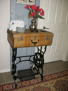 Old Sterling Treadle Sewing Machine Revamped to Hall Table