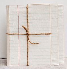 embroidered notebook covers (made to look like lined paper) by Pi'lo.