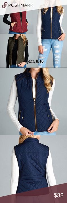 Navy Quilted vest Quilted padded vest has suede piping  #28  ✔️Made in USA ✔️100% polyester ✔️Small best fits size 2/4 ✔️Medium 6/8 ✔️Large 10/12 ✔️Modeling her small Available in 3 colors Boutique Jackets & Coats Vests