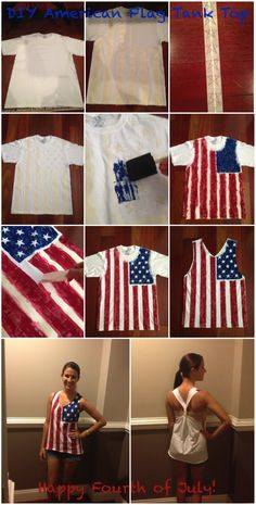 DIY American Flag Tank - Although the star part needs to be on the right shoulder.