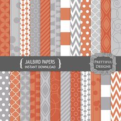 Digital Paper Pack Orange and Gray Geometric Patterns Commercial Use - Jailbird