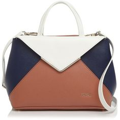 Furla Small Kelis Color Block Tote ($455) ❤ liked on Polyvore featuring bags, handbags, tote bags, top handle satchel, handbag tote, satchel purses, satchel bag and white satchel