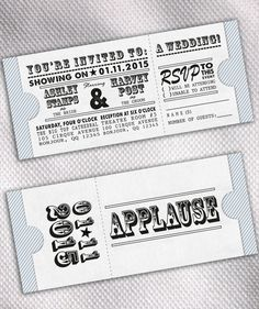 SAMPLE Movie Ticket Wedding Invitation Set