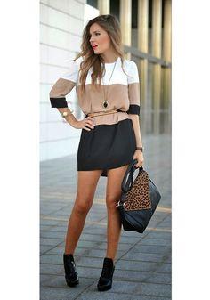 Black Color Block Print Three Quarter Length Sleeve Chiffon Dress