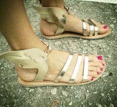 Greek Grecian Gladiator Leather Hermes Troy Winged Sandals Gold 35 5 #Handmade #AnkleStrap