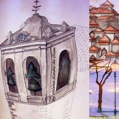 Mix of 3 watercolor works by Helena S. Costa ©. ----- (deformed tower of St. Peter's Church; - The invented city; - Jardim da Nossa Senhora do Monte, Lisboa.