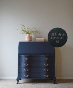 Navy and Copper Secretary Desk Makeover by Lily Field Furniture Refurbished Furniture, Paint Furniture, Repurposed Furniture, Furniture Projects, Cool Furniture, Furniture Refinishing, Refinished Desk, Dresser Refinish, Painted Secretary Desks