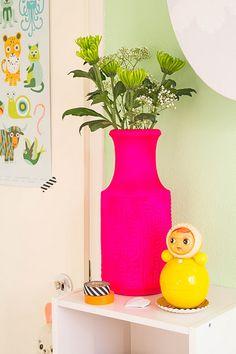 Pink Neon Vase, Kitsch Kitchen Doll, Masking Tape.