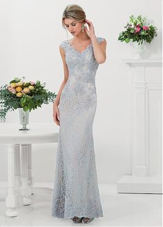Charming Lace V-neck Neckline Floor-length Sheath Mother Of The Bride Dress