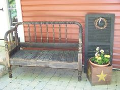 An old bench from a discarded bed. by imartsy