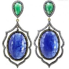 Emerald Diamond  50 CT Tanzanite Earrings