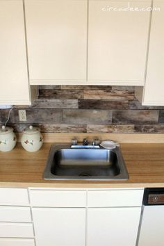pallet wood backsplash.