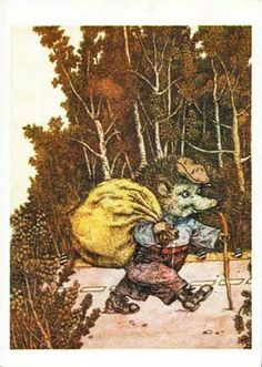Hedgehog traveler. Vintage postcard.