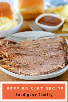 Feed your family a wholesome, tasty meal with this Crock Pot Beef Brisket recipe. You only need 3 ingredients to make this easy brisket recipe in half the time as a smoker. #Crockpot #Brisket #Easydinner Easy Brisket Recipe, Beef Brisket Recipes, Slow Cooker Recipes, Crockpot Recipes, Oven Pot Roast, Leftover Brisket, Slow Cooker Brisket, Recipe Filing, Tasty