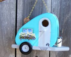 """""""I LOVE <3 the personality of Bird Houses, such as this one. a Turquoise Trailer birdhouse"""""""