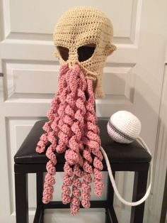 Adultsize Crocheted Doctor Who Ood Hat by Bobuta on Etsy.