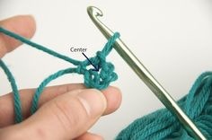 """Pic 4: To begin your first row, or """"round,"""" you will need to start with a turning chain. A pattern will direct you to chain 1 or chain 2 or even 3 depending on which stitch comes next (sc, dc, or tc). It will also tell you whether or not to count this chain as the first stitch in the round.In this example I am using single crochet, so chain 1, and then instead of working into the individual chain stitches, you will work into the center of your loop."""