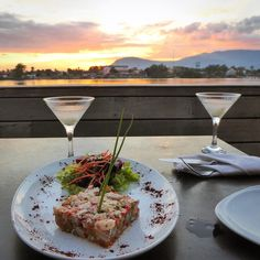 Red Snapper Tartare and Lychee Martinis overlooking the river at sunset in Kampot. #snapper #fish #lychee #martini  #delicious #restaurant #kampot #cambodia #tastetravel #tastetravelfoodadventuretours #sunshinecoast #australia #holiday #vacation #instafood #instagood #followme #localsknow #bestdayever #cookingclass #foodie #foodietour #foodietravel #angkorwat #sightseeing #followme #picoftheday