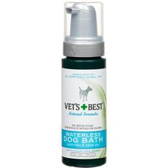 Veterinarians Best Waterless Dog Bath Foam Quick Clean leave-on foam shampoo for dogs eliminates the need to get your dog wet during a bath. Gently cleans, soothes and moisturizes skin and coat without affecting topical flea control such as Advantage, Frontline or Bio-Spot. Great for cold weather bathing, quick clean-ups and muddy paws. $8.97 #waterlessshampoo #dogshampoo |waterless dog shampoo|