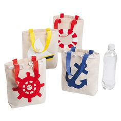 "Nautical Tote Bags - OrientalTrading.com small enough for a water bottle... 8x81/2"" $17/dozen"