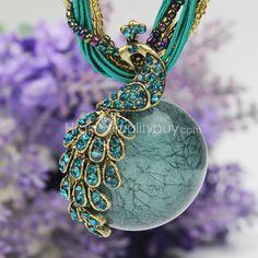 1x Personalizado #Collar #Colgante de #Pavo Real Estilo de #Vintage #Peacock Necklace