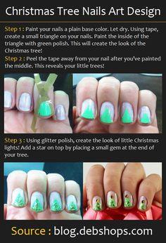 Christmas Tree Nails Design | Beauty Tutorials