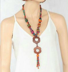 Multicolored Wooden Beads Long Necklace