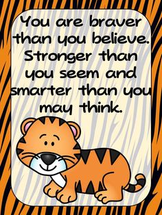 FREEBIE- Zoo Animal Theme Tiger Positive Inspirational Quote Poster