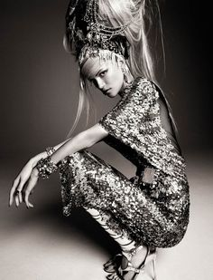 Kasia Struss dons some impressive head-dresses for a graphic fashion spread in the April '13 issue of Numéro magazine shot by Greg Kadel, styled by Bill Mullen.                              Published by F.TAPE | April 1, 2013.