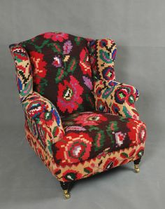 Handwoven New Wool Kilim Wingback Armchair sofa chair patchwork