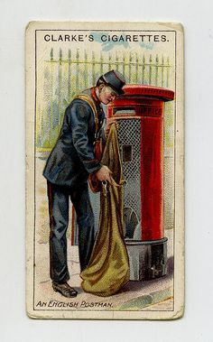 An excellent example of the marvellous development of the postal system of England is afforded by the increase which has taken place in the number of postmen employed. A little over a century since only one letter carrier was assigned to each of the largest provincial towns, such as Bristol (the then premier provincial city), Liverpool & Manchester. Now the Postmaster-General counts by the fifty thousand the blue (once scarlet) clad postman as shown in the act of clearing a street letter…