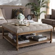 Lowest price online on Baxton Studio Carlotta French Country Weathered Oak Beige Linen Square Coffee Table Ottoman Padded Coffee Table, Tufted Ottoman Coffee Table, Fabric Coffee Table, Living Room Seating, Living Room Furniture, Living Room Decor, Rustic Furniture, Furniture Vintage, Unique Furniture