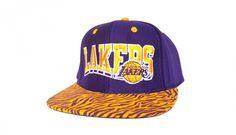 801127a39c3 Los Angeles Lakers Custom Snapback Hat with Purple and Gold Tiger Stripe  Fabric   Original Purple Leather