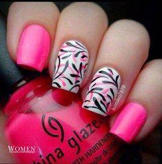 Acid pinknails, Beautiful nails 2016, Beautiful summer nails, Bright pink nails, Bright shellac, Bright summer nails, Fashion nails 2016, Juicy summer nails