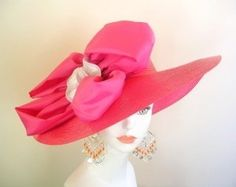 Florida Pink White Wide Brim Ladies Church Hat Kentucky ...