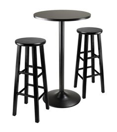"Winsome Wood 20331 3pc Round Black Pub Table with two 29"" Wood Stool Square Legs"