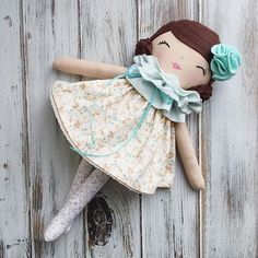 Brunette Handmade Rag Doll by SpunCandy