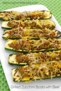These low carb grilled zucchini boats are stuffed with beef, salsa, and cheese!