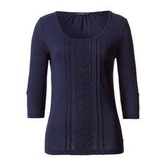 Jersey-Shirt with lace in eclipse blue