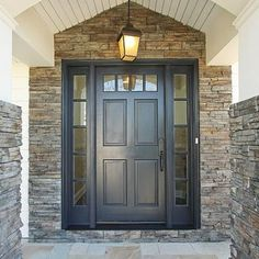 Front Door Paint Colors - Want a quick makeover? Paint your front door a different color. Here a pretty front door color ideas to improve your home's curb appeal and add more style! Traditional Front Doors, House Front, Painted Front Doors, House Exterior, Black Front Doors, Exterior House Colors, Grey Front Doors, Exterior Doors, Exterior Stone