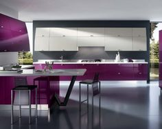 Interior, Ravishing Kitchen Interior Design With Purple Lacquered Kitchen Cabinet Modern White Wall Kitchen Cabinet With Kitchen Hood Black Polished Concrete Floor L Shaped Purple Kitchen Cabinet With Bar Counter Square Bar Stools: Perfect and Ideal Kitchen Interior Design Ideas