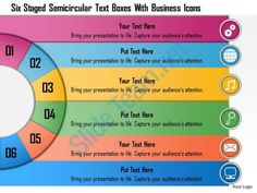 1214 six staged semicircular text boxes with buisness icons powerpoint template Slide01