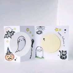 Halloween greeting card This cute spooky Halloween card with spinning ghost is perfect for those who love all things halloween Halloween Greetings, Fete Halloween, Halloween Cards, Spooky Halloween, Handmade Birthday Cards, Greeting Cards Handmade, Cute Cards, Diy Cards, Paper Crafts Origami