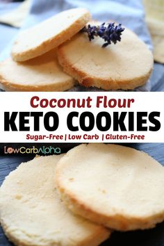 Easy and keto coconut flour cookies recipe. Simple and healthy sugar-free low carb gluten-free snack. Easy and keto coconut flour cookies recipe. Simple and healthy sugar-free low carb gluten-free snack. Recipes Using Coconut Flour, Coconut Flour Cakes, Coconut Recipes, Keto Recipes, Cookies With Coconut Flour, Healthy Recipes, Coconut Flour Biscuits, Coconut Flour Muffins, Dinner Recipes