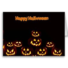 Happy Halloween--jack-o'-lanterns  Greeting Cards from zazzle.com -$3.30- Happy Halloween with smiling pumpkins. Trick or Treat, give me something good to eat ! Keep in touch with Zazzle custom greeting cards. Customize all parts of this folded card – inside and out, front and back – for free!