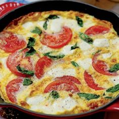 Mozzarella Tomato Basil Frittata ~ Cut Recipe in Half