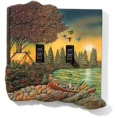 "Terry Redlin ""Evening Solitude"" Double Switch Plate At Rocky Mountain"