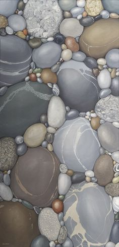 The painting reminds us to slow down, to look carefully, to exist as a stone on the shore, allowing oneself to be shaped by life's current. Titled - Origins by Canadian artist Kristina Boardman